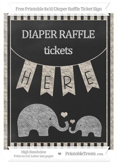Free Antique White Striped Chalk Style Elephant 8x10 Diaper Raffle Ticket Sign
