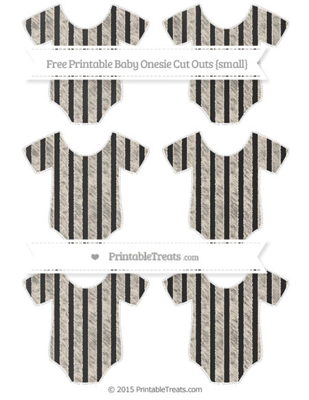 Free Antique White Striped Chalk Style Small Baby Onesie Cut Outs