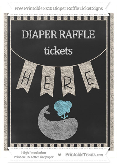 Free Antique White Striped Chalk Style Whale 8x10 Diaper Raffle Ticket Sign