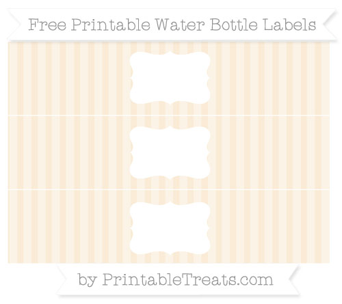 Free Antique White Striped Water Bottle Labels