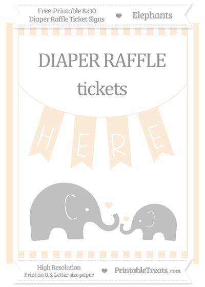 Free Antique White Striped Elephant 8x10 Diaper Raffle Ticket Sign
