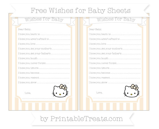 Free Antique White Striped Hello Kitty Wishes for Baby Sheets