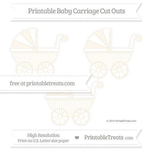 Free Antique White Striped Medium Baby Carriage Cut Outs