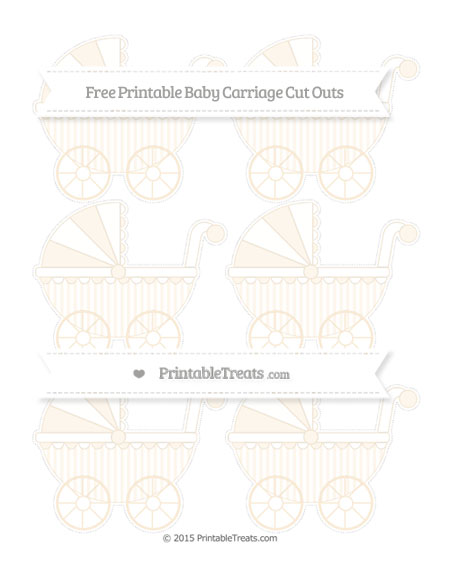 Free Antique White Striped Small Baby Carriage Cut Outs