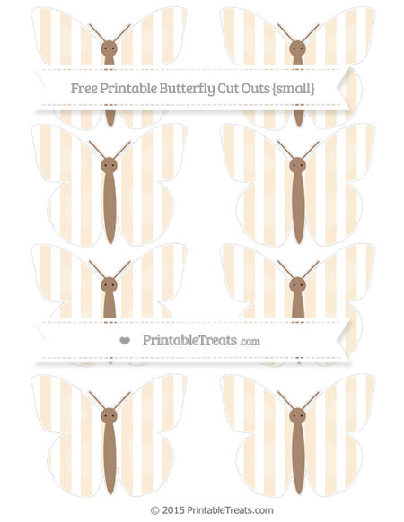 Free Antique White Striped Small Butterfly Cut Outs