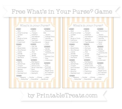 Free Antique White Striped What's in Your Purse Baby Shower Game
