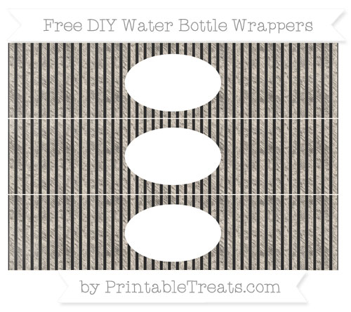 Free Antique White Thin Striped Pattern Chalk Style DIY Water Bottle Wrappers