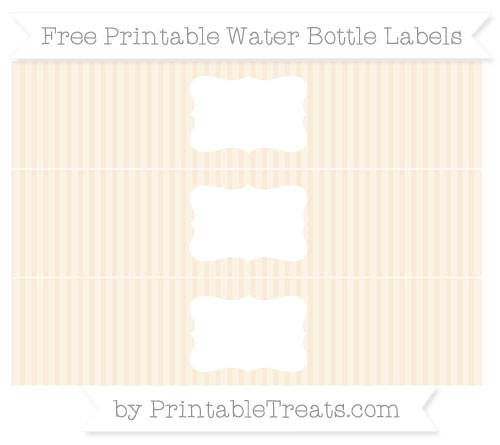 Free Antique White Thin Striped Pattern Water Bottle Labels