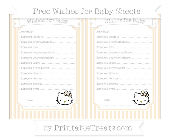 Free Antique White Thin Striped Pattern Hello Kitty Wishes for Baby Sheets
