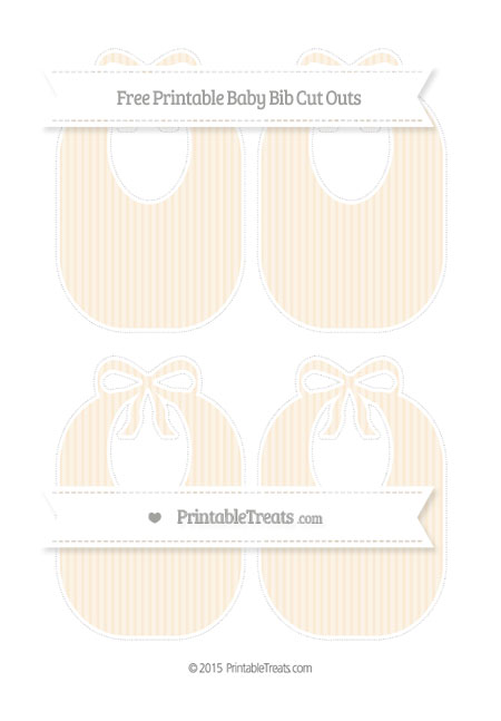 Free Antique White Thin Striped Pattern Medium Baby Bib Cut Outs