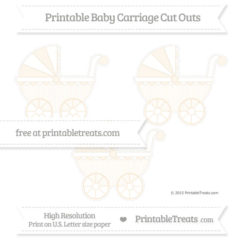 Free Antique White Thin Striped Pattern Medium Baby Carriage Cut Outs
