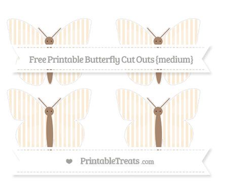Free Antique White Thin Striped Pattern Medium Butterfly Cut Outs