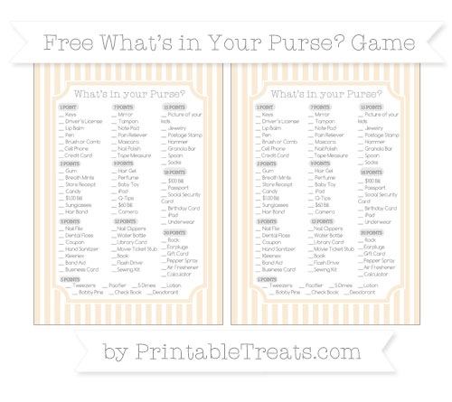 Free Antique White Thin Striped Pattern What's in Your Purse Baby Shower Game