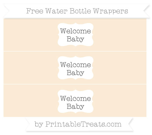 Free Antique White Welcome Baby Water Bottle Wrappers