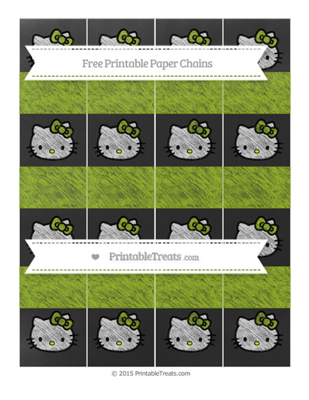 Free Apple Green Chalk Style Hello Kitty Paper Chains