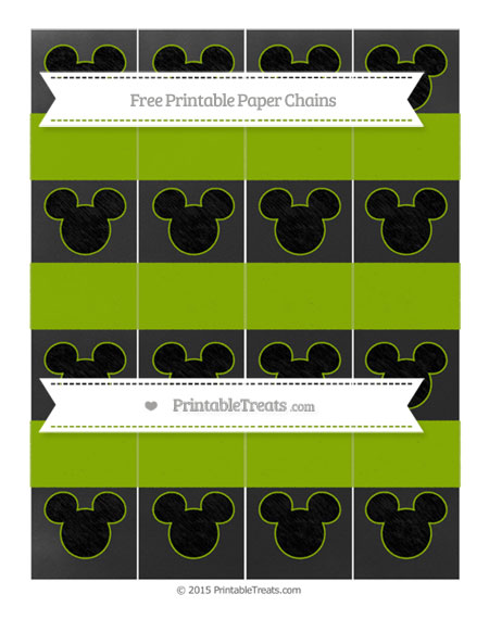 Free Apple Green Chalk Style Mickey Mouse Paper Chains