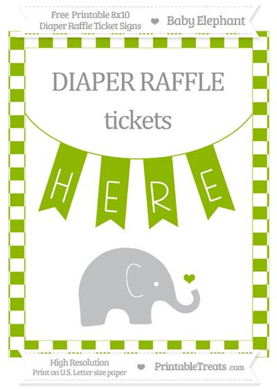 Free Apple Green Checker Pattern Baby Elephant 8x10 Diaper Raffle Ticket Sign