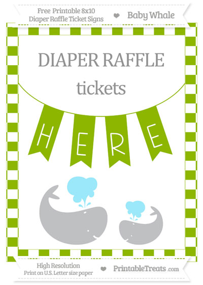 Free Apple Green Checker Pattern Baby Whale 8x10 Diaper Raffle Ticket Sign