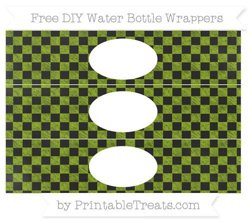 Free Apple Green Checker Pattern Chalk Style DIY Water Bottle Wrappers
