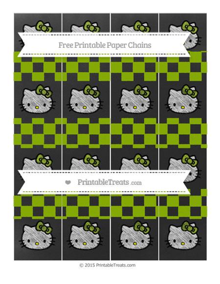 Free Apple Green Checker Pattern Chalk Style Hello Kitty Paper Chains