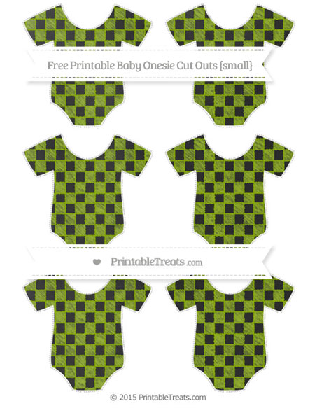 Free Apple Green Checker Pattern Chalk Style Small Baby Onesie Cut Outs