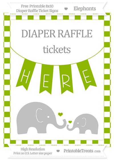Free Apple Green Checker Pattern Elephant 8x10 Diaper Raffle Ticket Sign