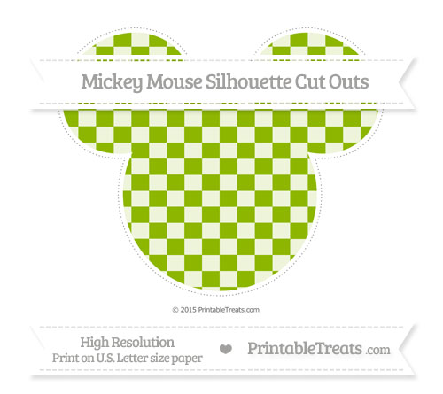Free Apple Green Checker Pattern Extra Large Mickey Mouse Silhouette Cut Outs