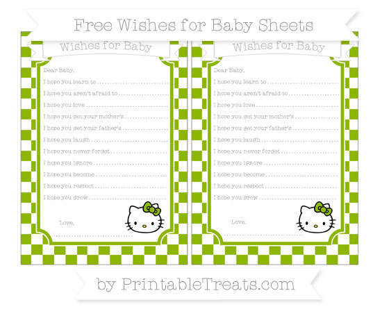 Free Apple Green Checker Pattern Hello Kitty Wishes for Baby Sheets