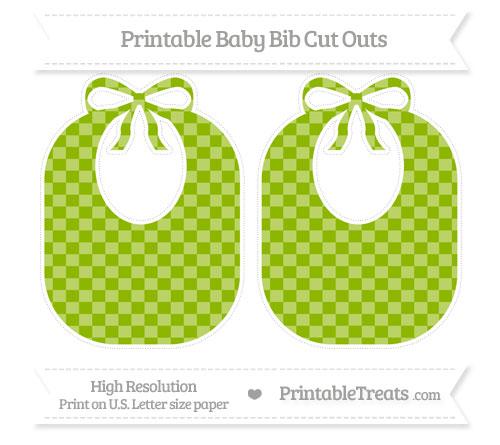 Free Apple Green Checker Pattern Large Baby Bib Cut Outs