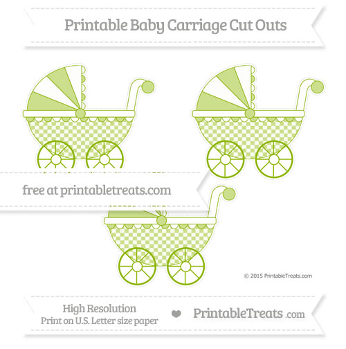 Free Apple Green Checker Pattern Medium Baby Carriage Cut Outs