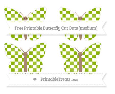 Free Apple Green Checker Pattern Medium Butterfly Cut Outs