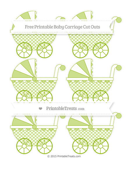Free Apple Green Checker Pattern Small Baby Carriage Cut Outs