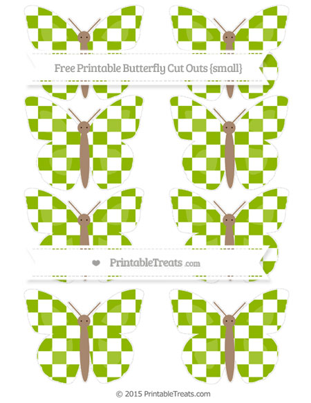 Free Apple Green Checker Pattern Small Butterfly Cut Outs