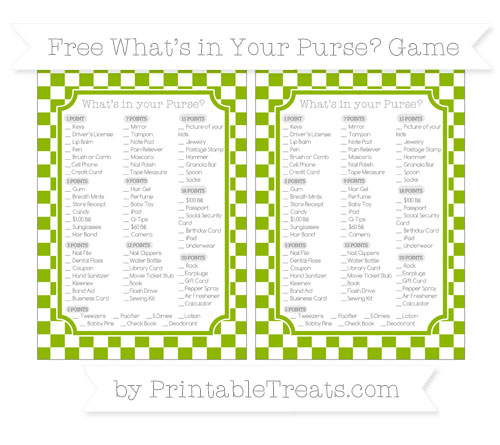 Free Apple Green Checker Pattern What's in Your Purse Baby Shower Game