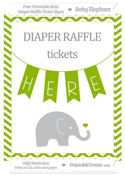 Free Apple Green Chevron Baby Elephant 8x10 Diaper Raffle Ticket Sign