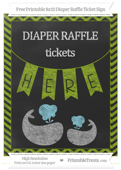 Free Apple Green Chevron Chalk Style Baby Whale 8x10 Diaper Raffle Ticket Sign