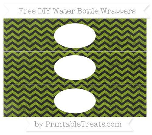 Free Apple Green Chevron Chalk Style DIY Water Bottle Wrappers