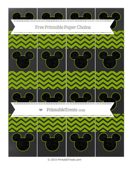 Free Apple Green Chevron Chalk Style Mickey Mouse Paper Chains