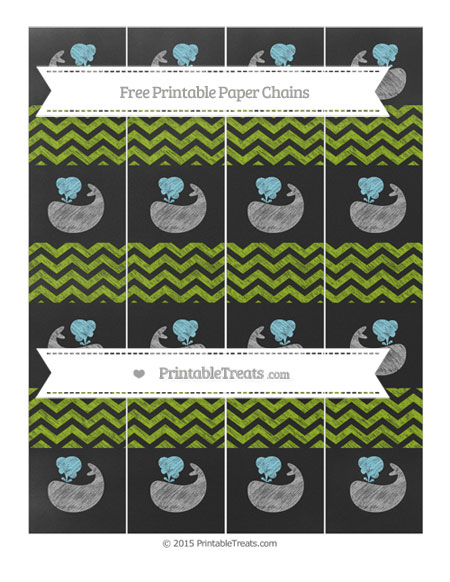 Free Apple Green Chevron Chalk Style Whale Paper Chains
