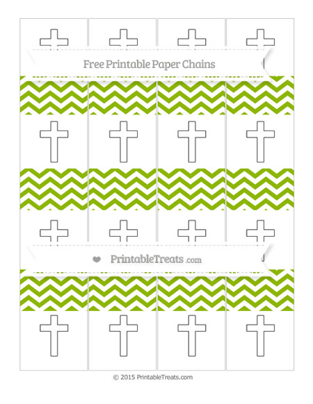 Free Apple Green Chevron Cross Paper Chains
