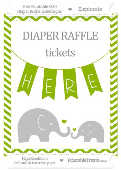 Free Apple Green Chevron Elephant 8x10 Diaper Raffle Ticket Sign