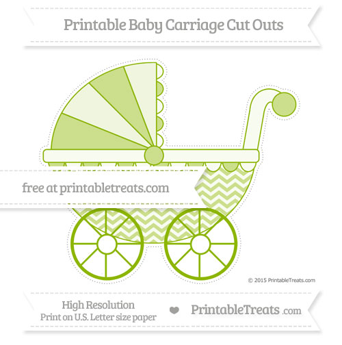 Free Apple Green Chevron Extra Large Baby Carriage Cut Outs
