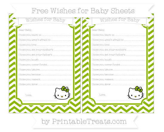 Free Apple Green Chevron Hello Kitty Wishes for Baby Sheets