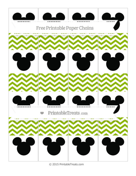 Free Apple Green Chevron Mickey Mouse Paper Chains