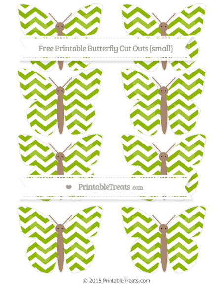 Free Apple Green Chevron Small Butterfly Cut Outs