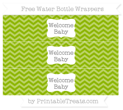 Free Apple Green Chevron Welcome Baby Water Bottle Wrappers