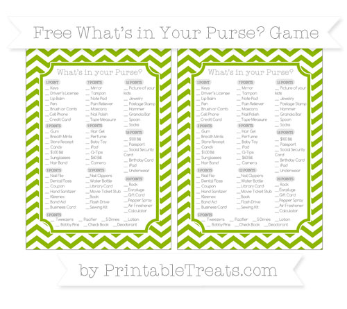 Free Apple Green Chevron What's in Your Purse Baby Shower Game