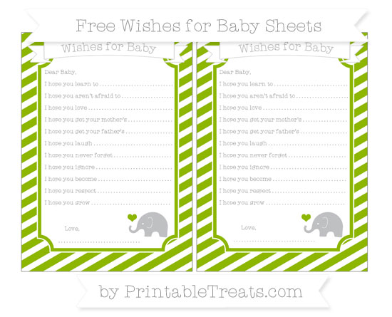 Free Apple Green Diagonal Striped Baby Elephant Wishes for Baby Sheets