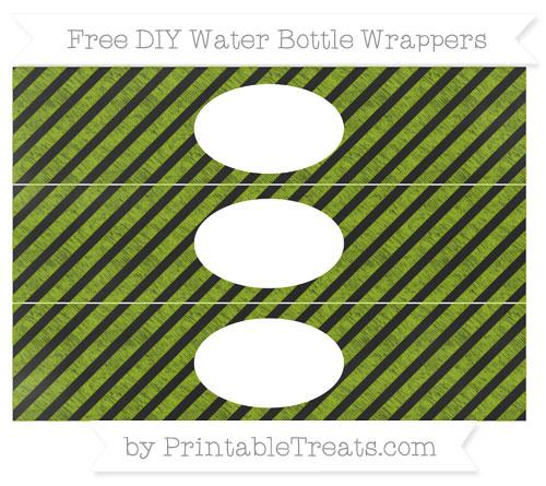 Free Apple Green Diagonal Striped Chalk Style DIY Water Bottle Wrappers
