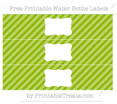 Free Apple Green Diagonal Striped Water Bottle Labels